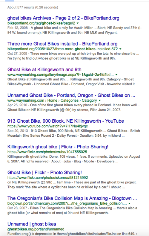 Ghost Bike Google