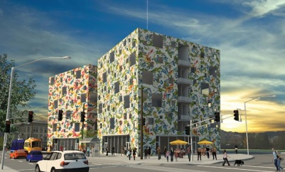 six-story office building with floral outer layer