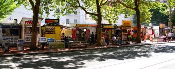 line of food trucks, Portland, OR