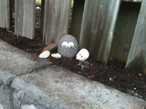 Wiggle eyes bring rocks to life.