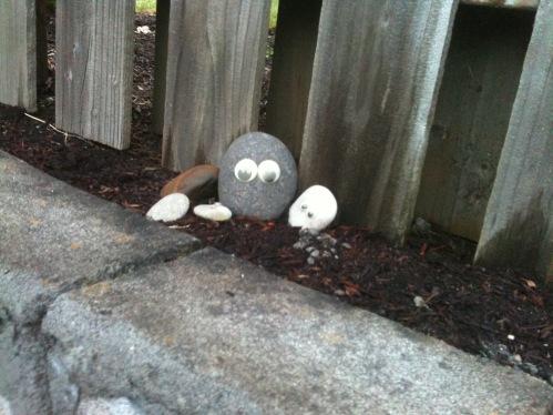 Wiggle eyes bring rocks to life.