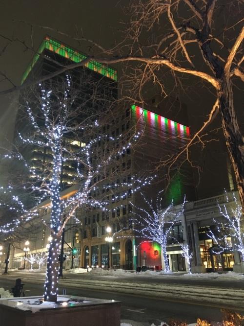 Bright lights and medium city.