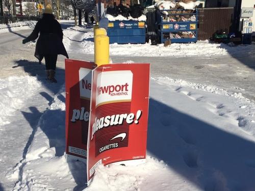 Snow. Long shadows. Cigarette ads.