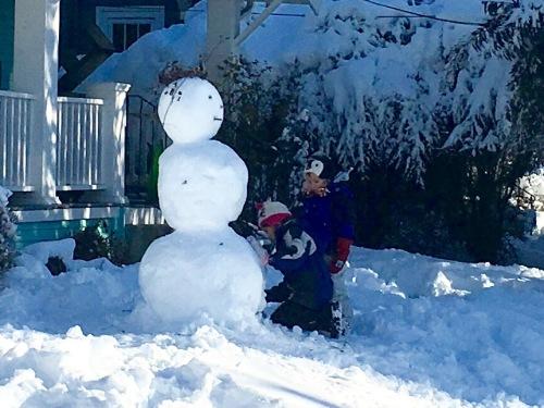 Snow inspires snowmen.