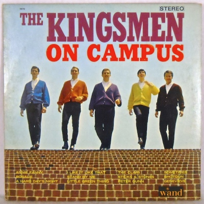 """The Kingsmen on Campus"" album cover with five band members in cardigan sweaters at the top of a brick staircase"