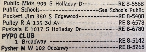 Seaside, Oregon phone book entry for the PYPO CLUB at 1 Broadway