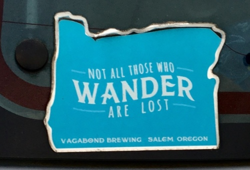 The charm and a cutesy message of this sticker are not lost on me and neither is its wandering border it offers hope to all wanderers its a subtle beer